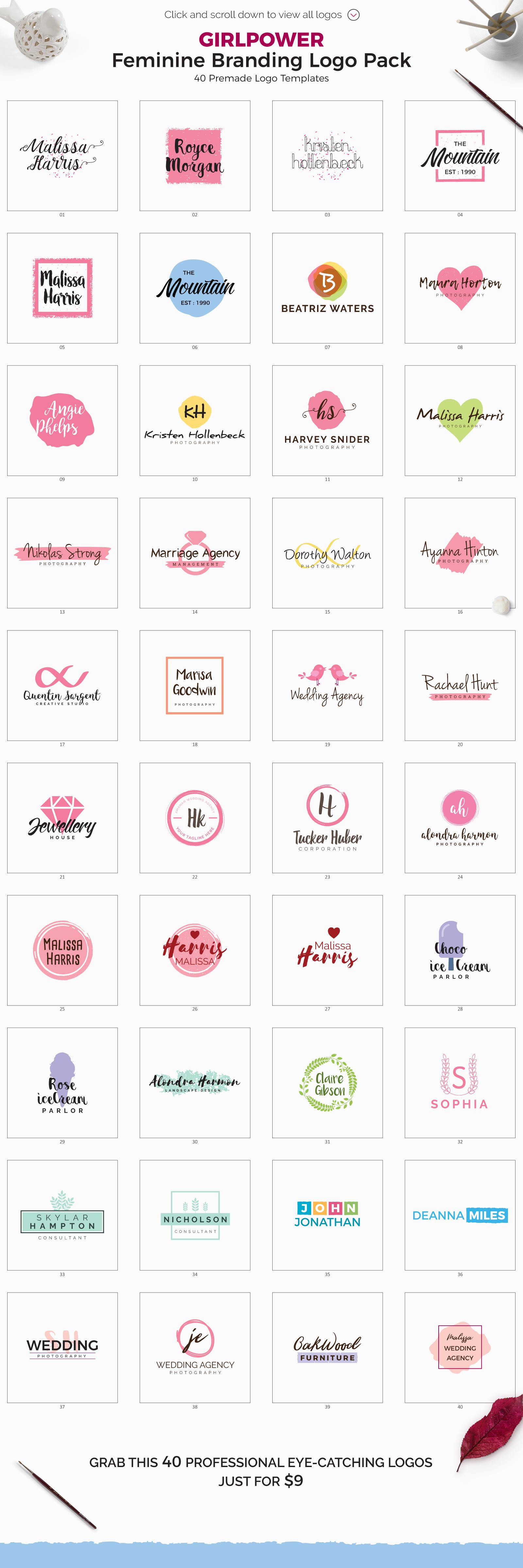 GIRLPOWER Feminine Branding Logo Pack example image 6