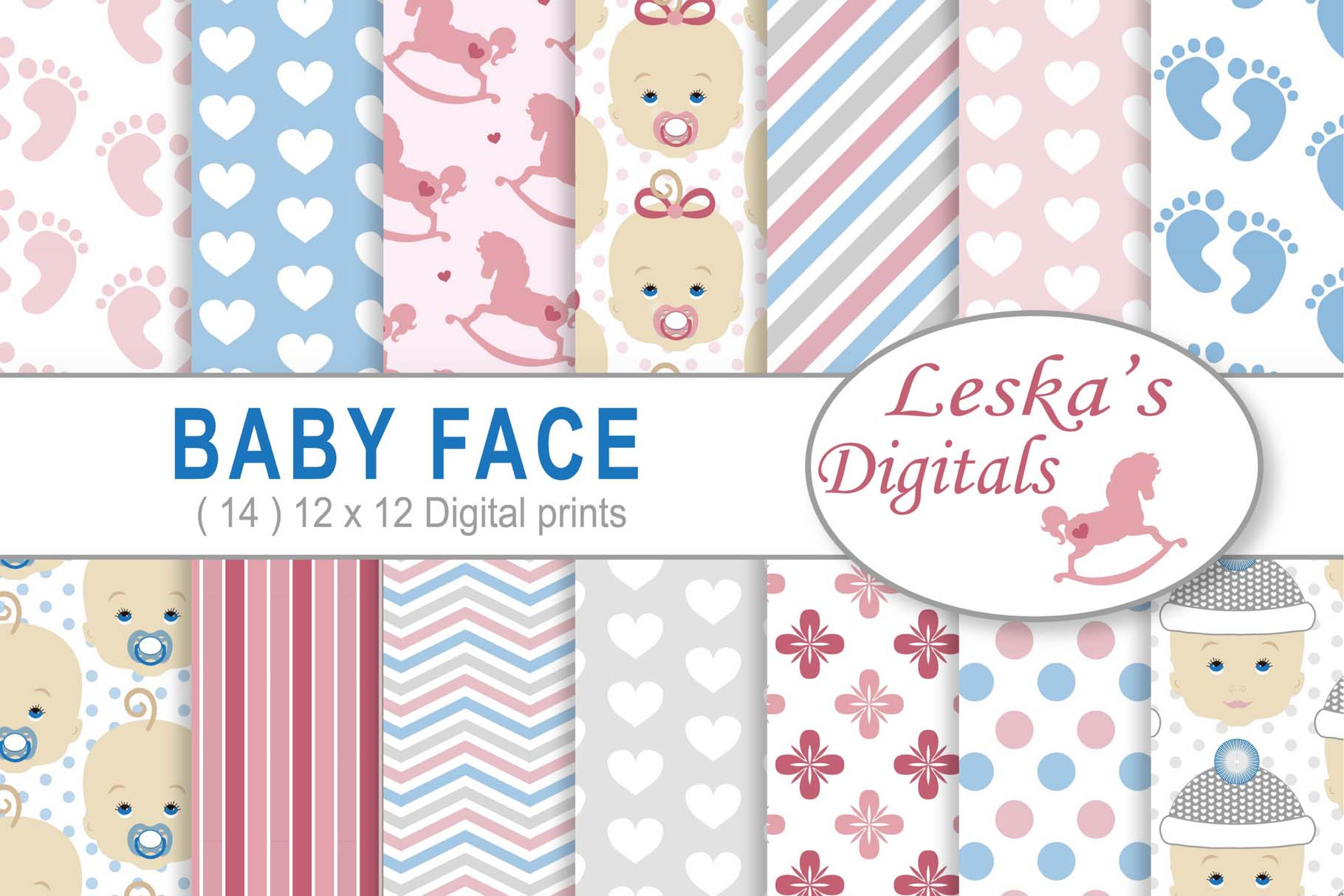 Babyface Baby Scrapbook Paper example image 1