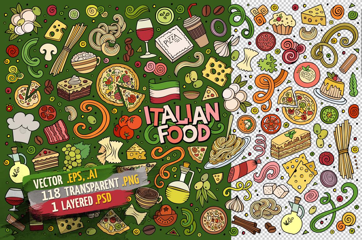 Italian Food Objects & Symbols Set example image 2