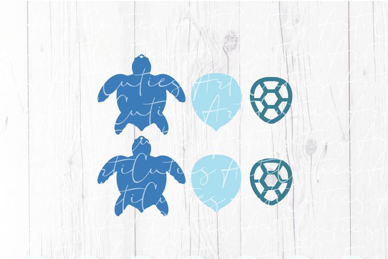 Sea turtle earrings template SVG, DIY earrings template example image 2