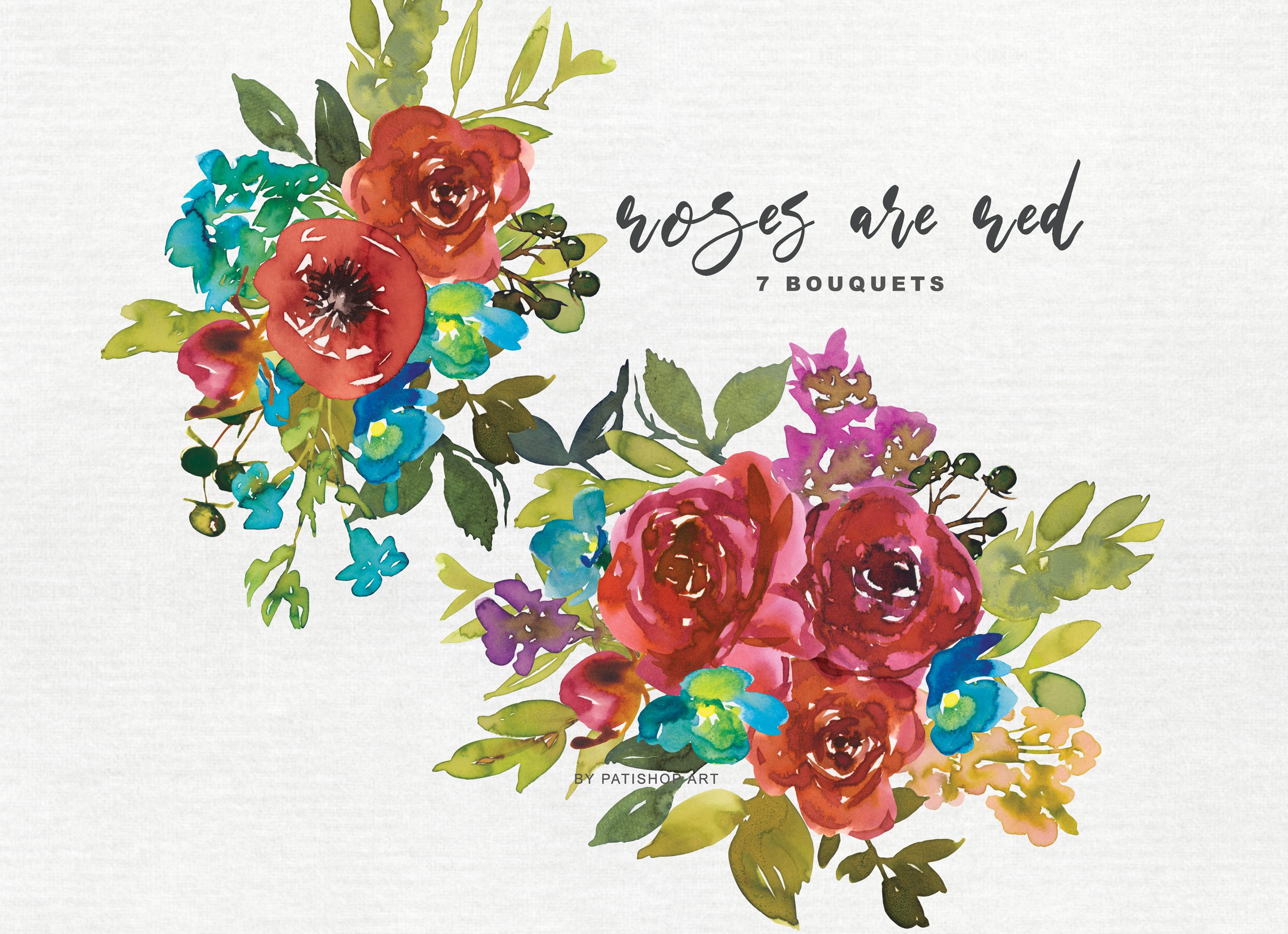 Watercolor Red & Blue Flowers Clipart Collection example image 5