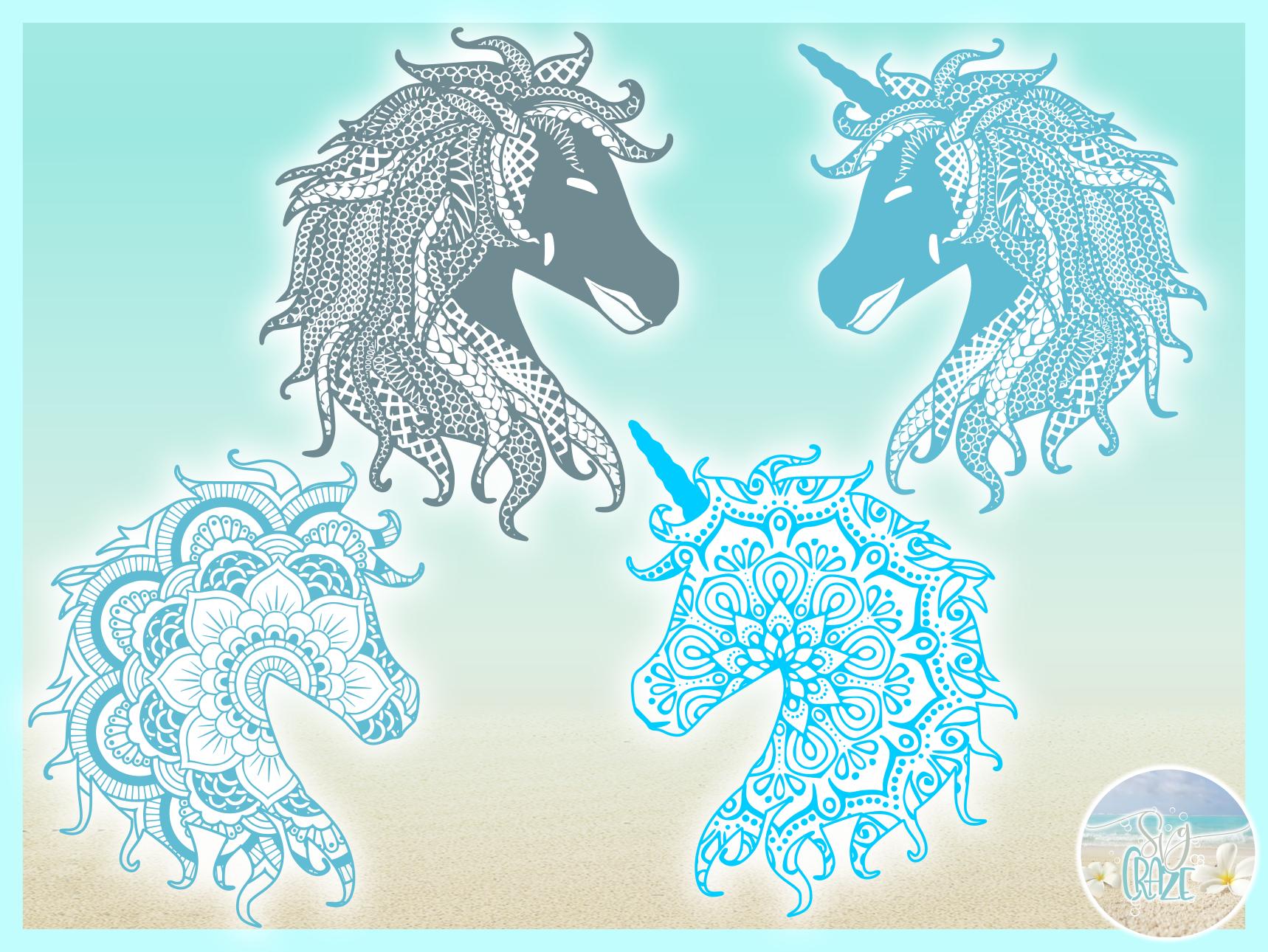 Horse Unicorn Mandala Zentangle Bundle Svg Dxf Eps Png PDF example image 3