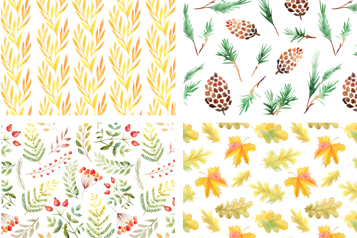 Watercolor Autumn Patterns Vol.2 example image 4