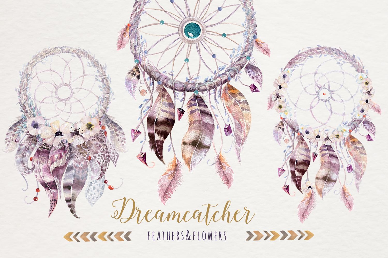 Watercolor dreamcathers II. Bohemian example image 3
