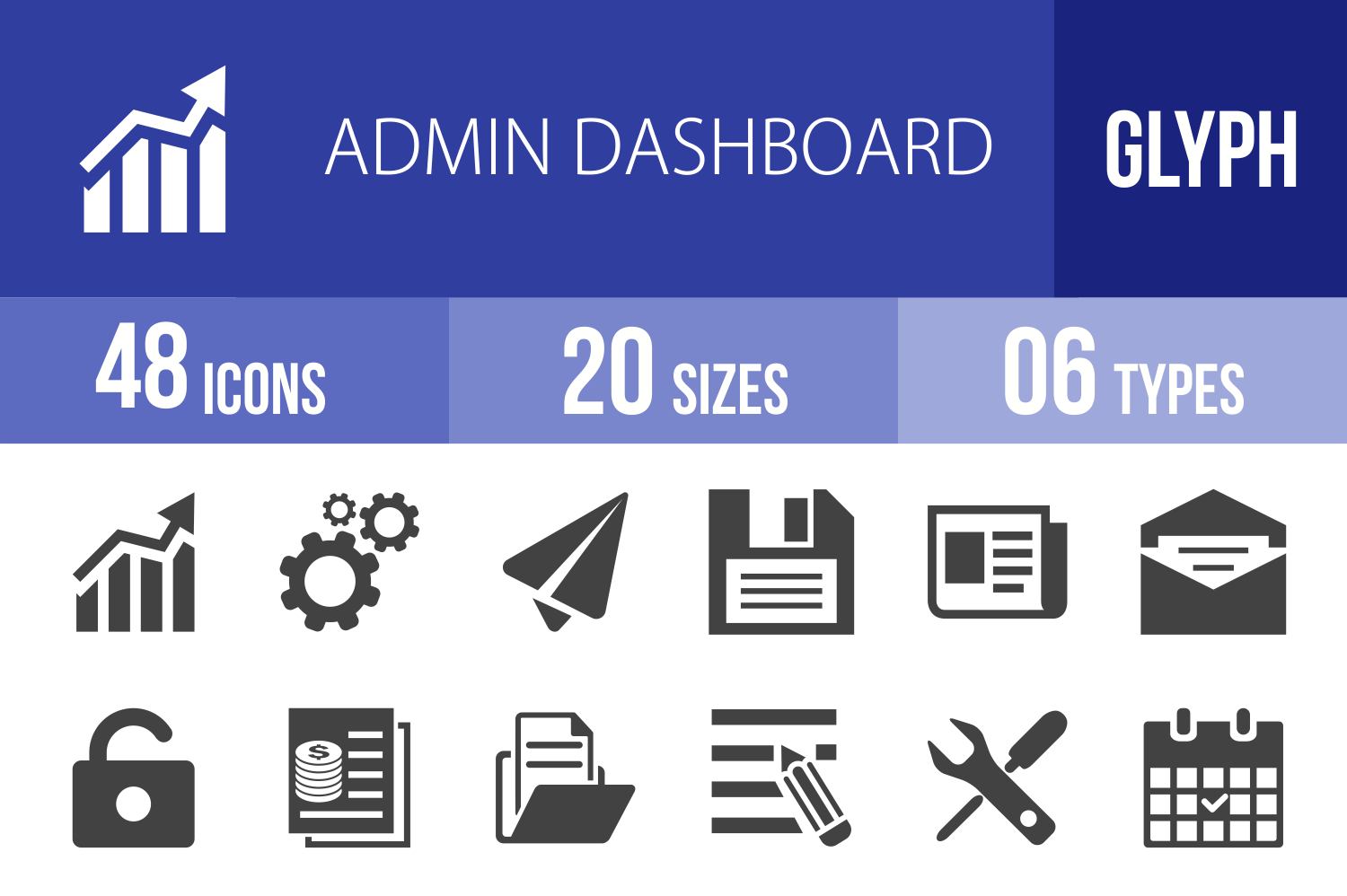 48 Admin Dashboard Glyph Icons example image 1