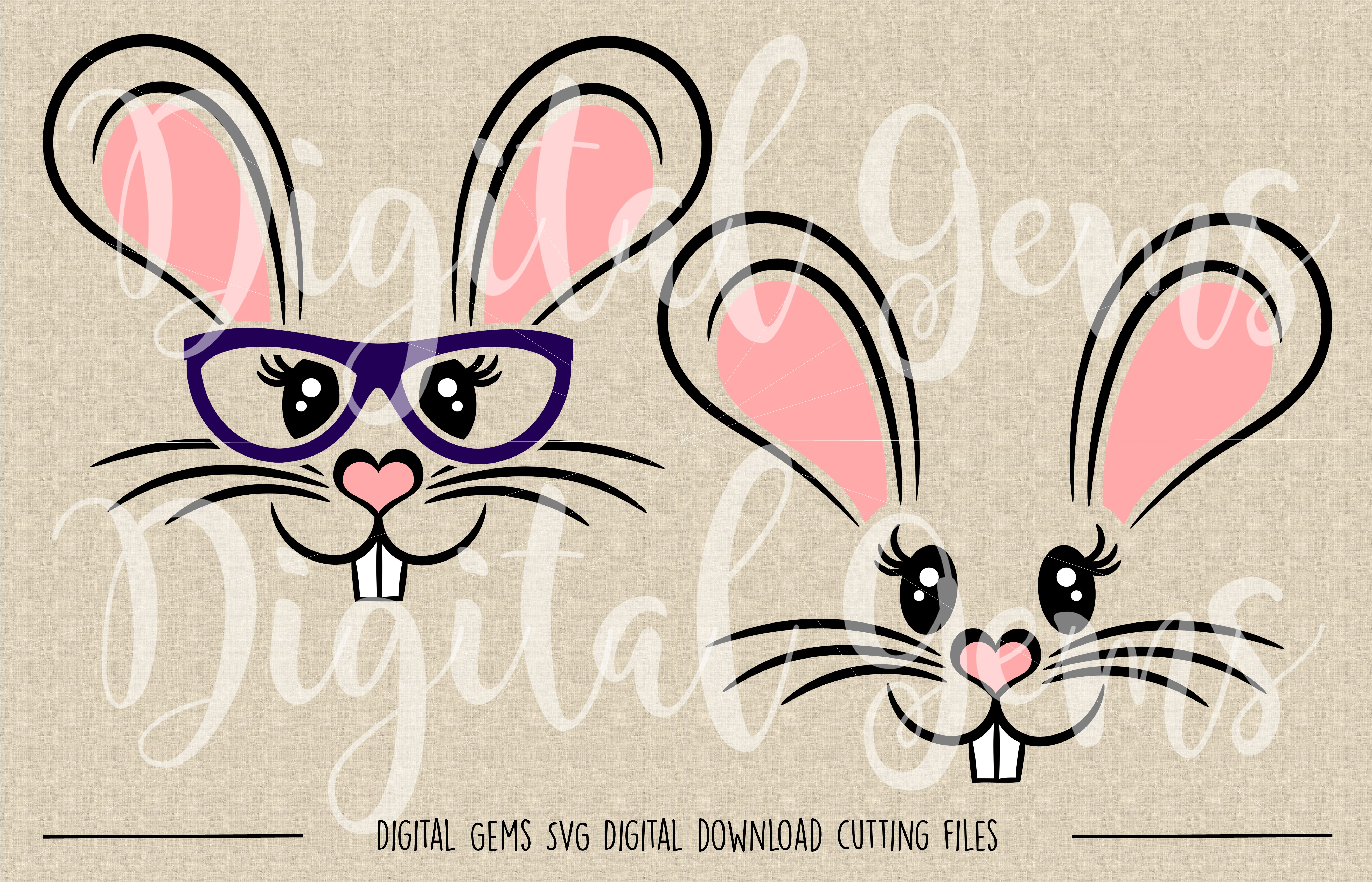 Rabbit Faces SVG / DXF / EPS / PNG files example image 2