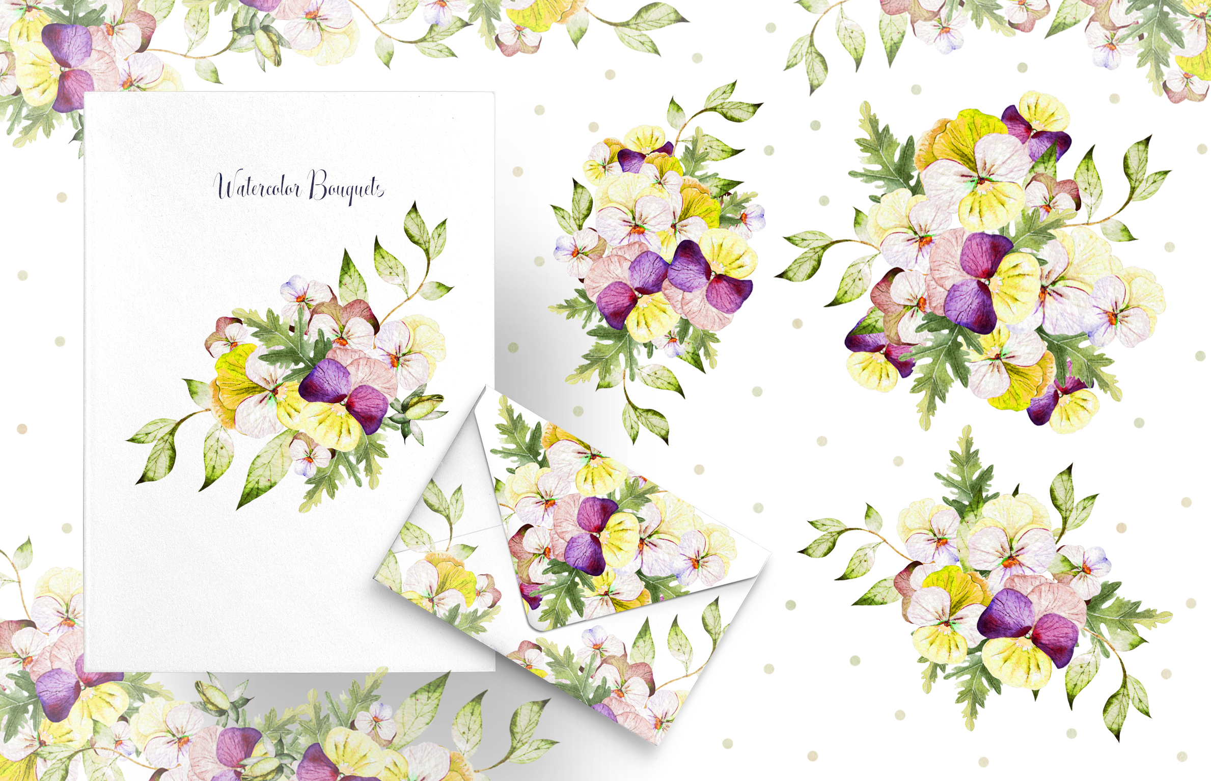Watercolor PANSY FLOWERS example image 5