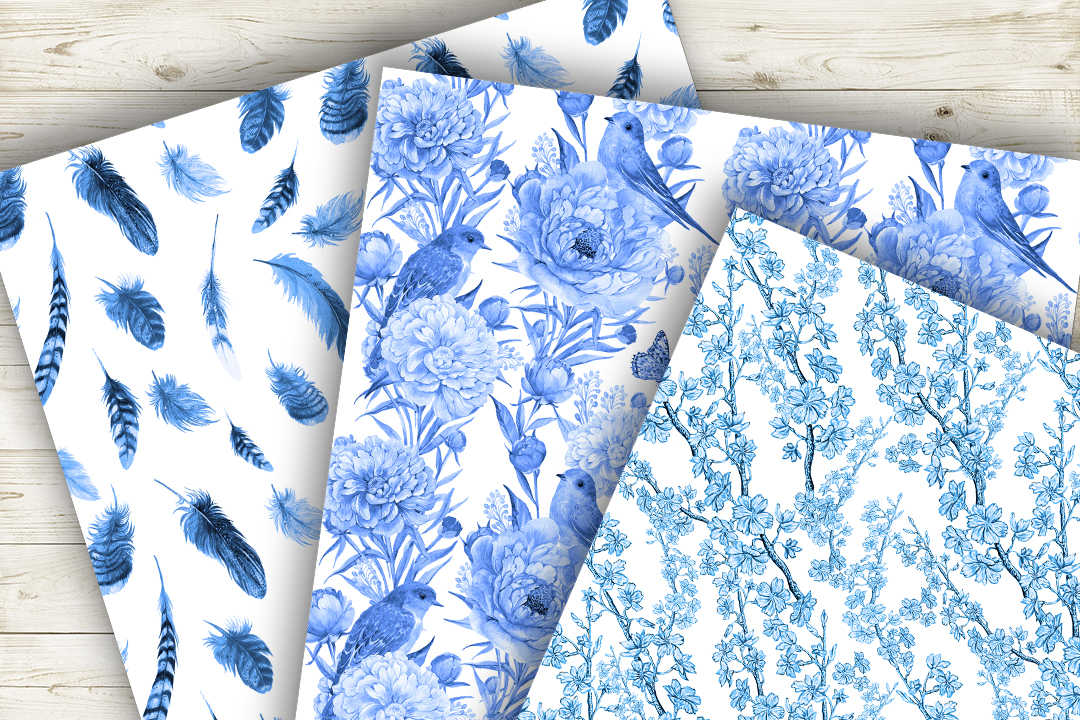 Feathers,Seamless patterns.Watercolor patterns . example image 4