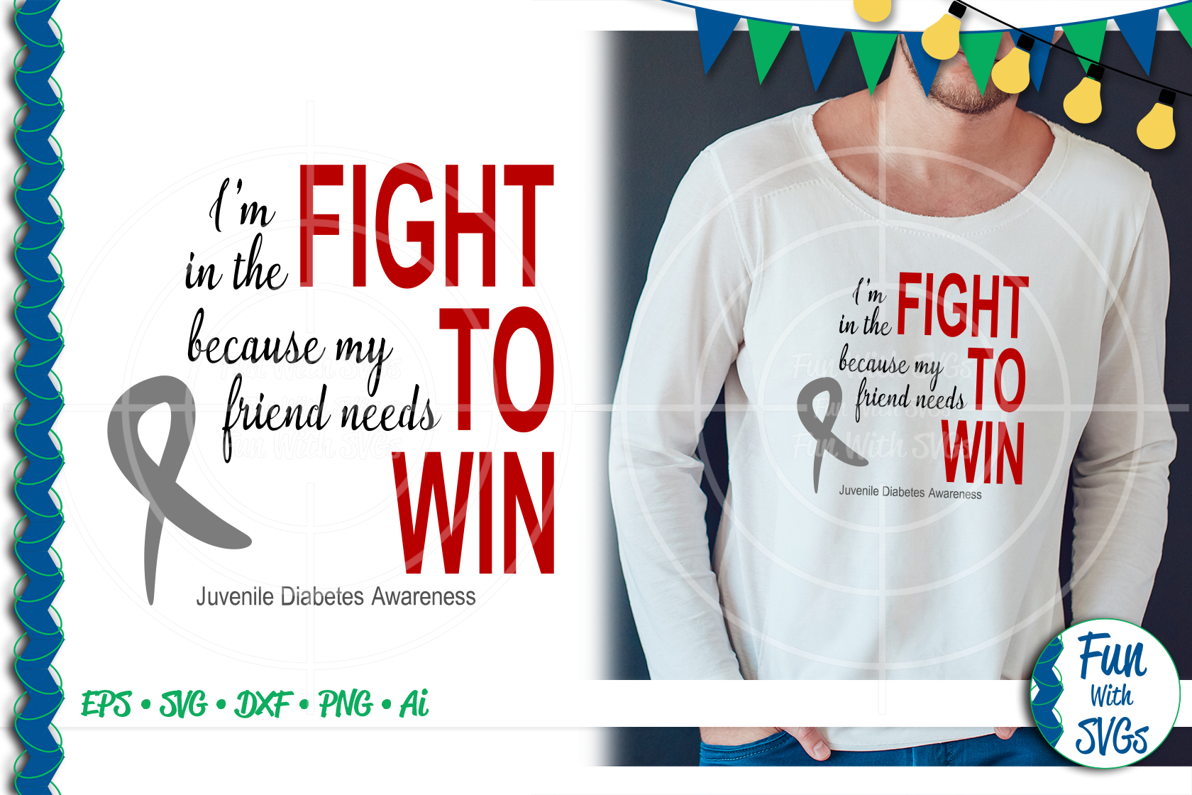 SVG Fight To Win Juvenile Diabetes, Cut File, FWS471 example image 1
