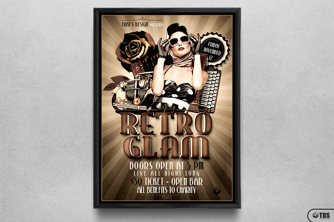 Retro Glam Flyer Template V1 example image 6