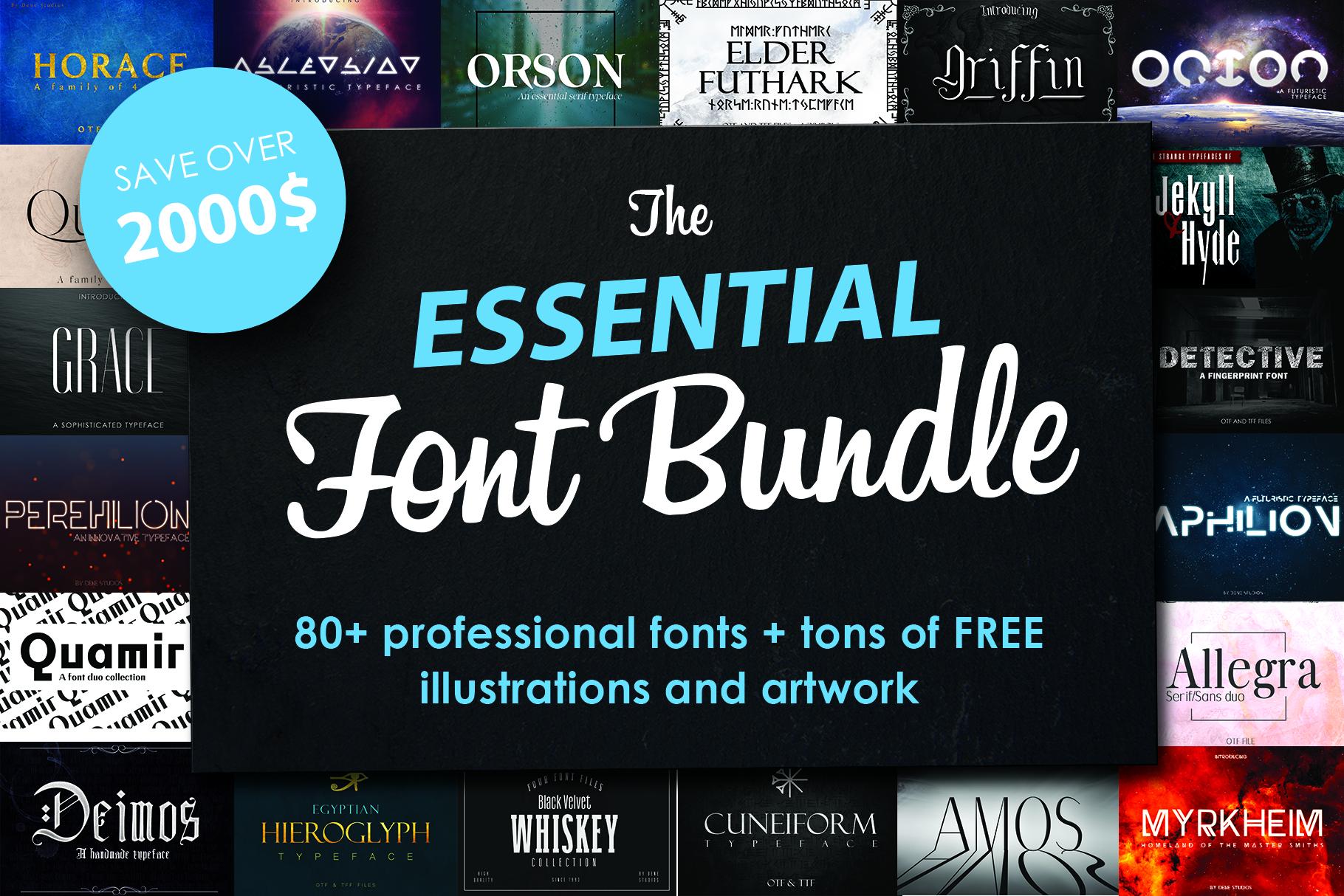 FONT BUNDLE - Over 80 professional fonts example image 1