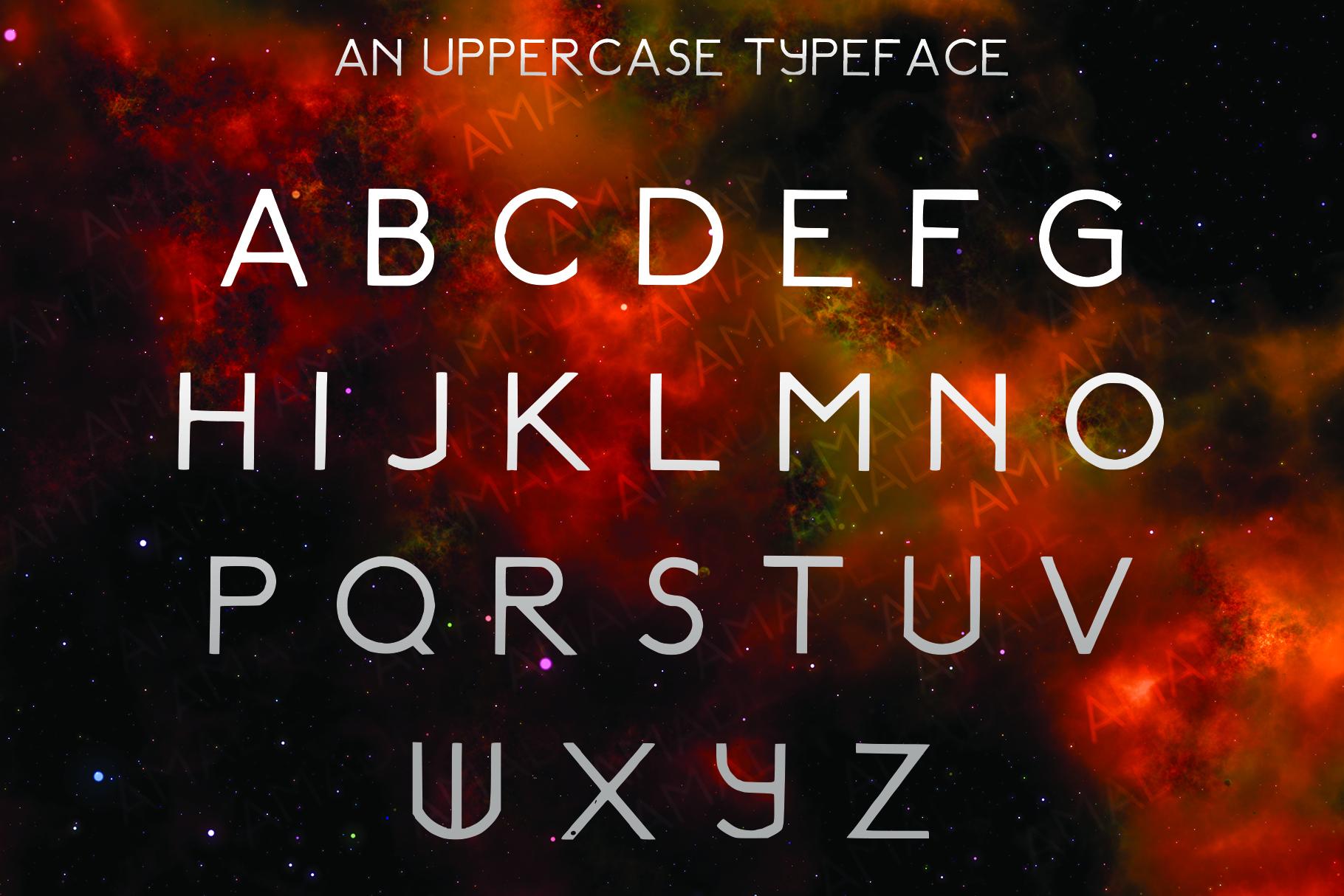 AMADEUS, a futuristic font example image 2