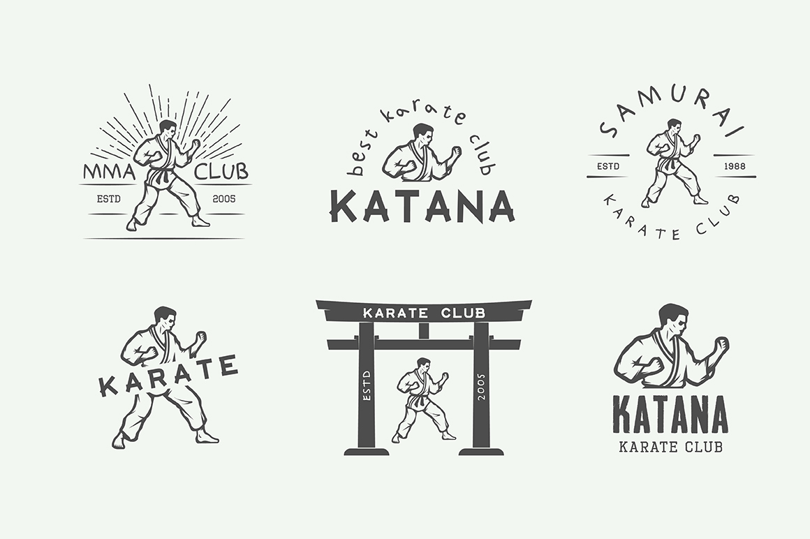 Vintage Karate Emblems Bundle example image 12