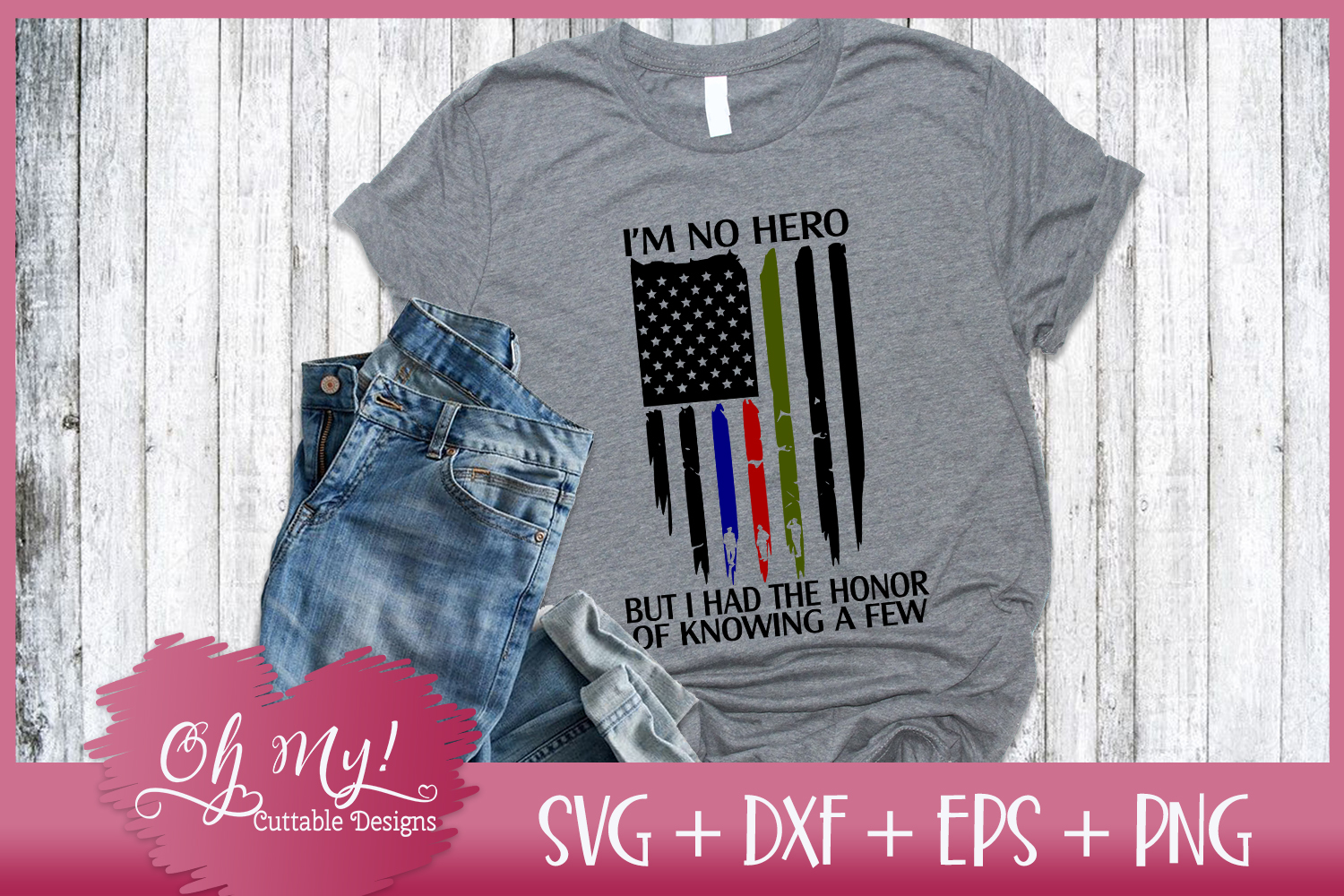 Distresses Flag - I'm No Hero - SVG DXF EPS PNG Cutting File example image 3