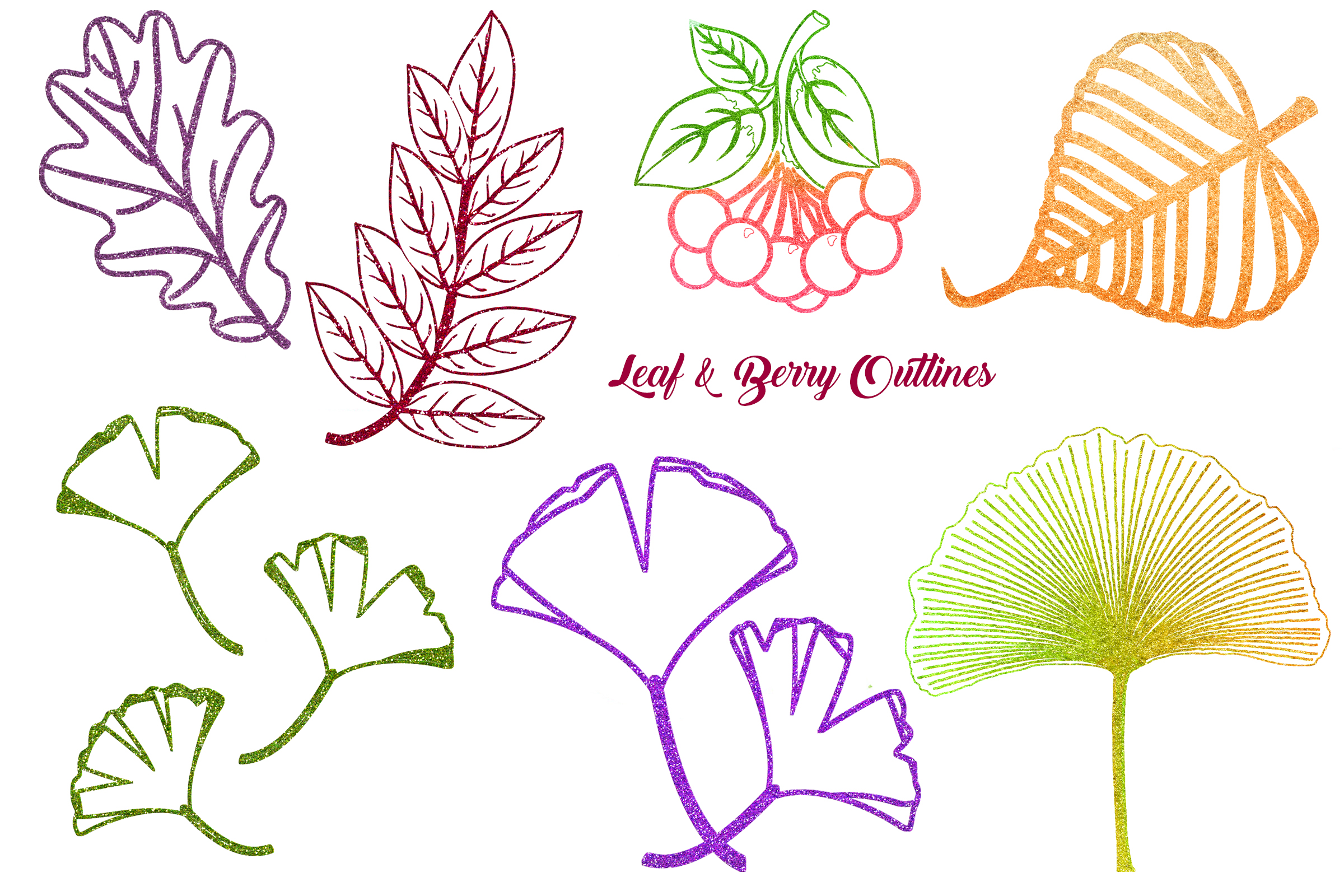 Autumn Glitter Leaf Clip Art example image 2