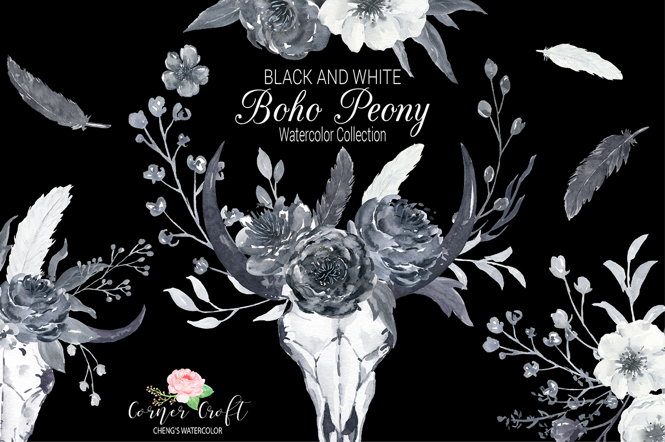 Watercolor Black and White Boho Peony example image 9