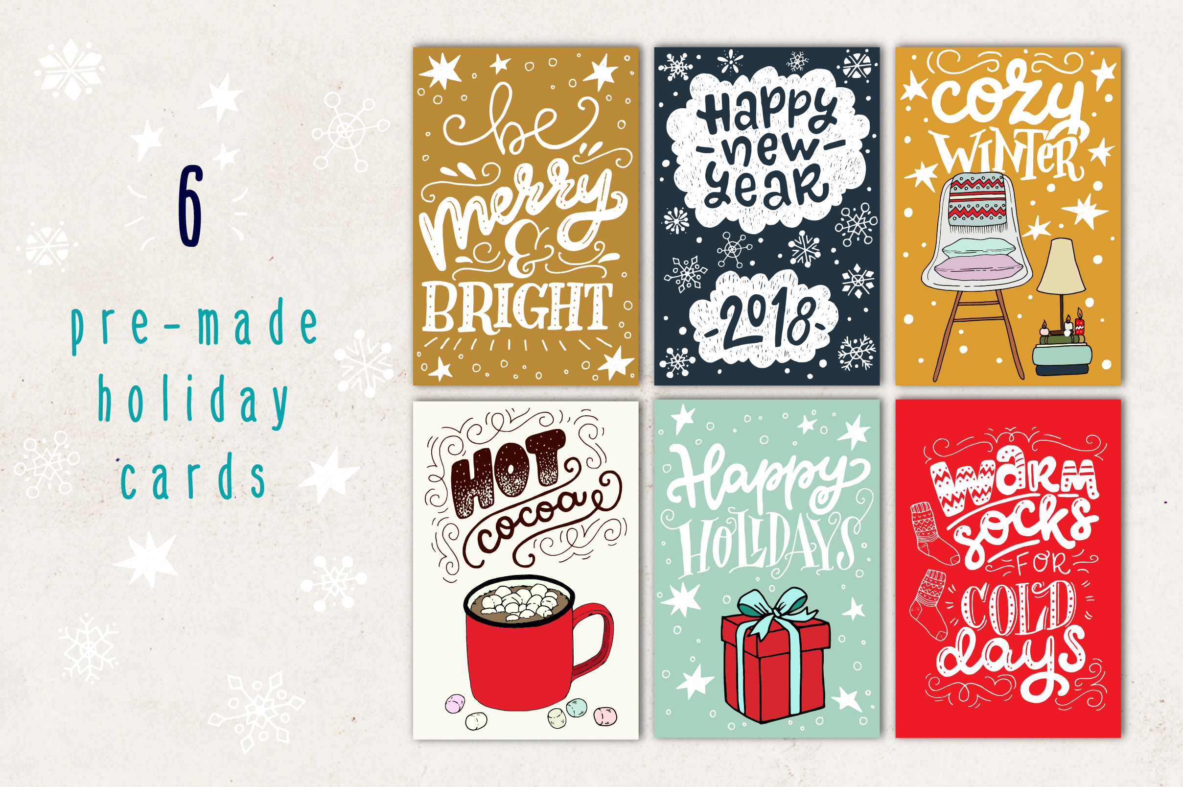 Cozy Christmas Lettering & Clipart example image 2