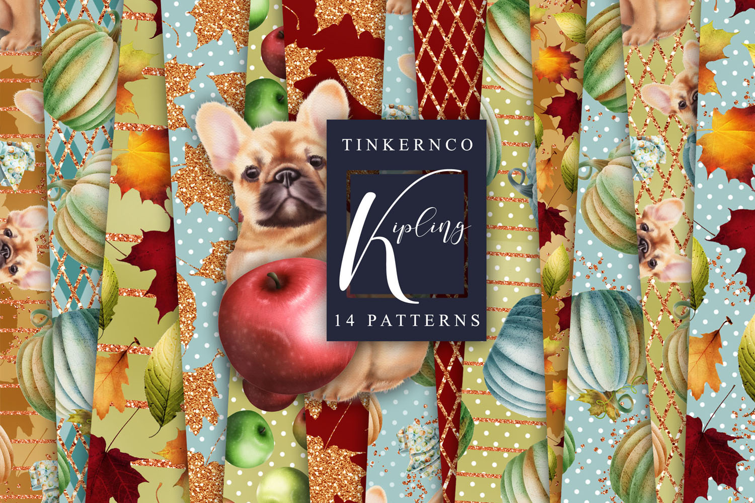 French Bulldog Clipart Pattern tiles example image 5