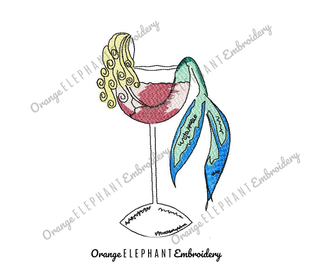 Mermaid Splash Wine Glass Hand Drawn Unique Urban Machine Embroidery Design digital File example image 1