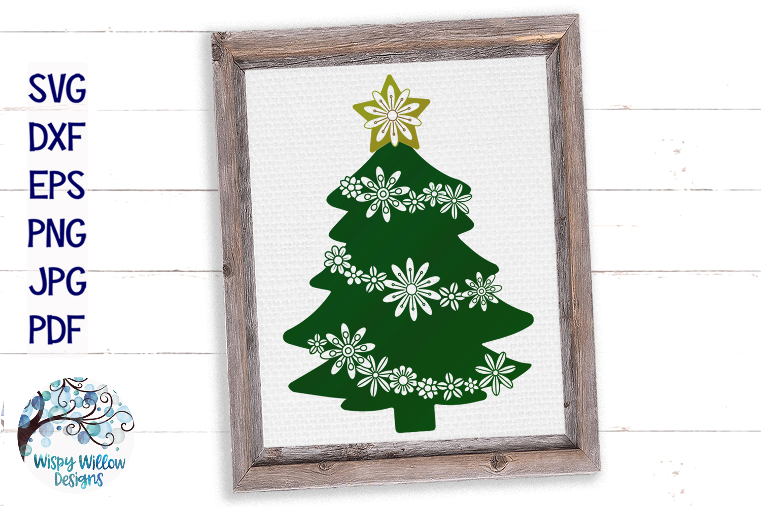 Floral Christmas Tree   Christmas SVG Cut File example image 4