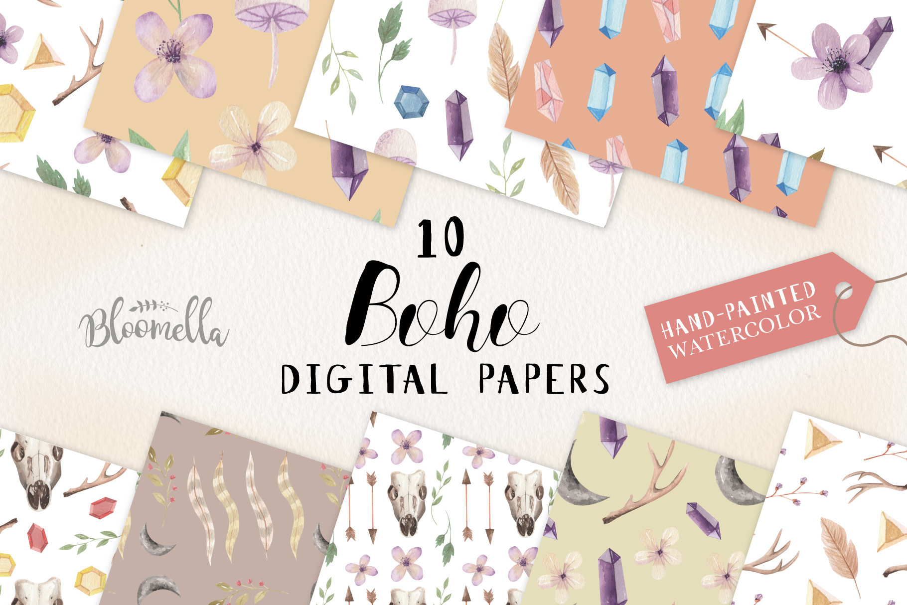 Boho Seamless Patterns Digital Papers Bohemian Feather Gems example image 1