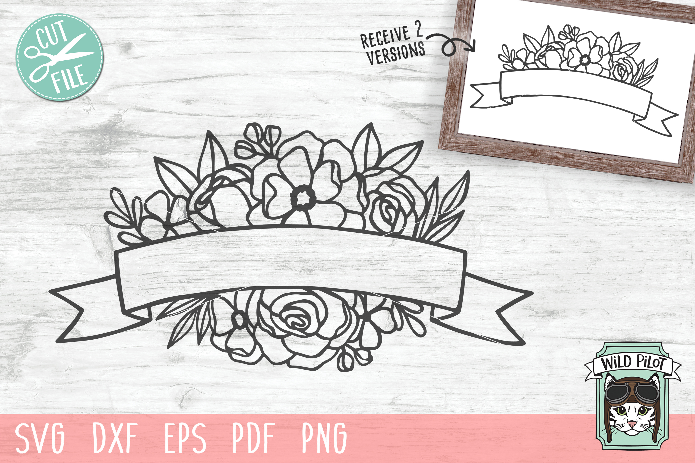 Flower Ribbon Banner SVG file, Flower Border cut file example image 1
