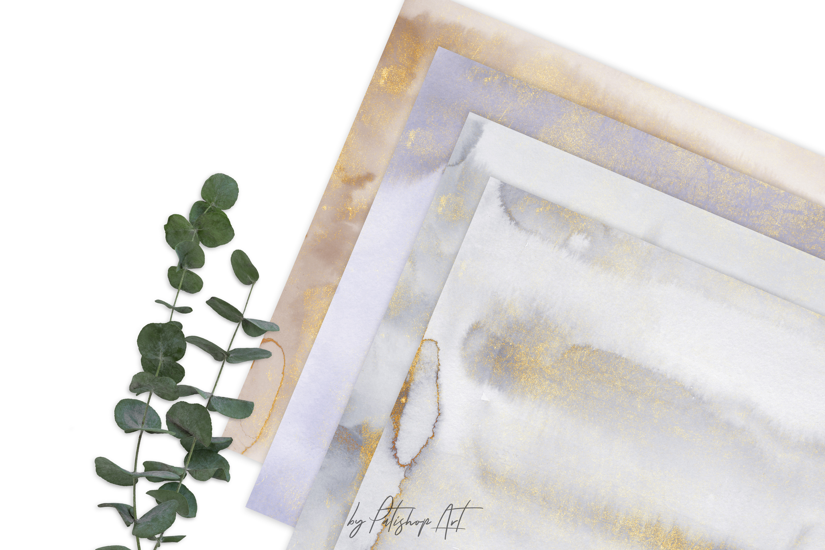 Hand Painted Watercolor Glittered Gray & Beige Washes example image 9