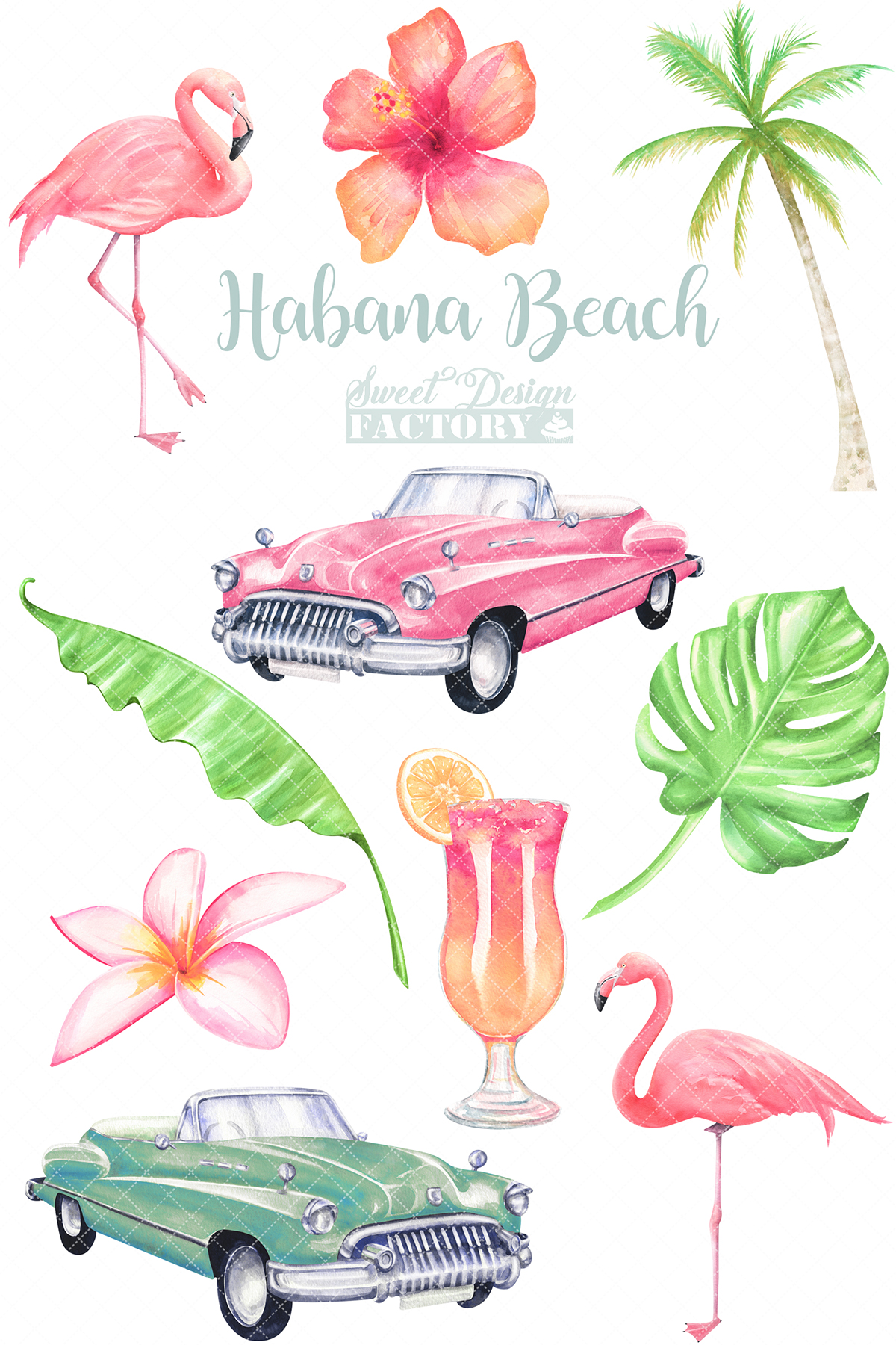 Watercolor flamingos and retro cars summer clipartS example image 2