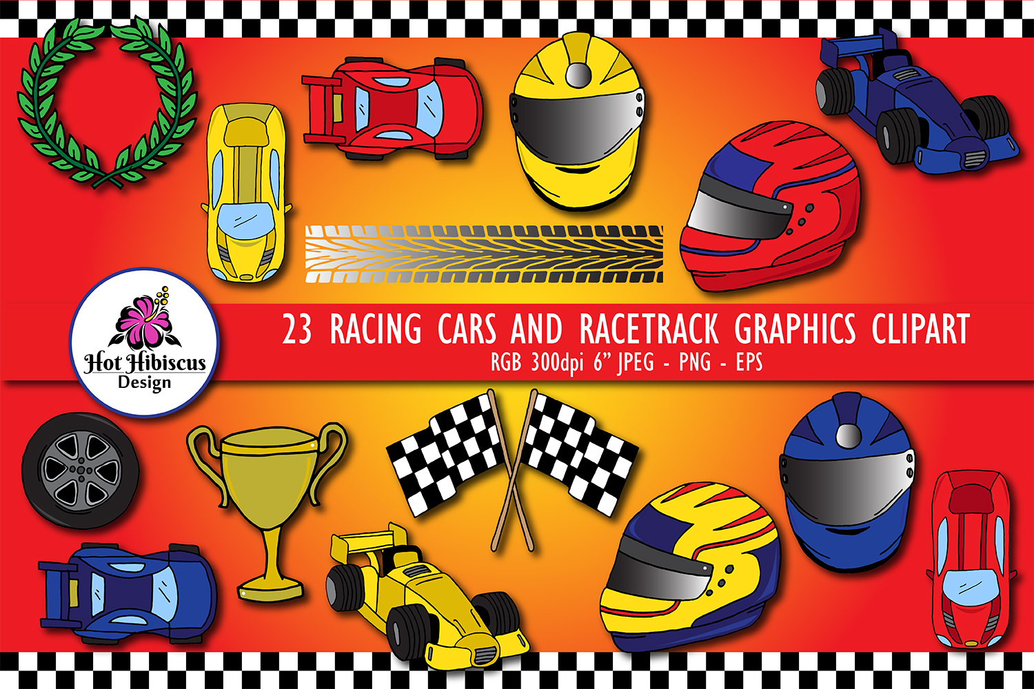 23 Racing Cars and Racetrack Graphics Illustrations Clipart example image 1