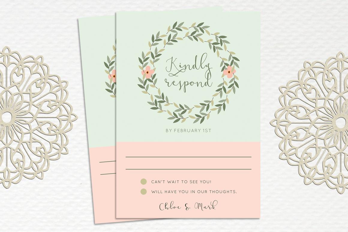 Leaves Wreath Wedding Invitation example image 3