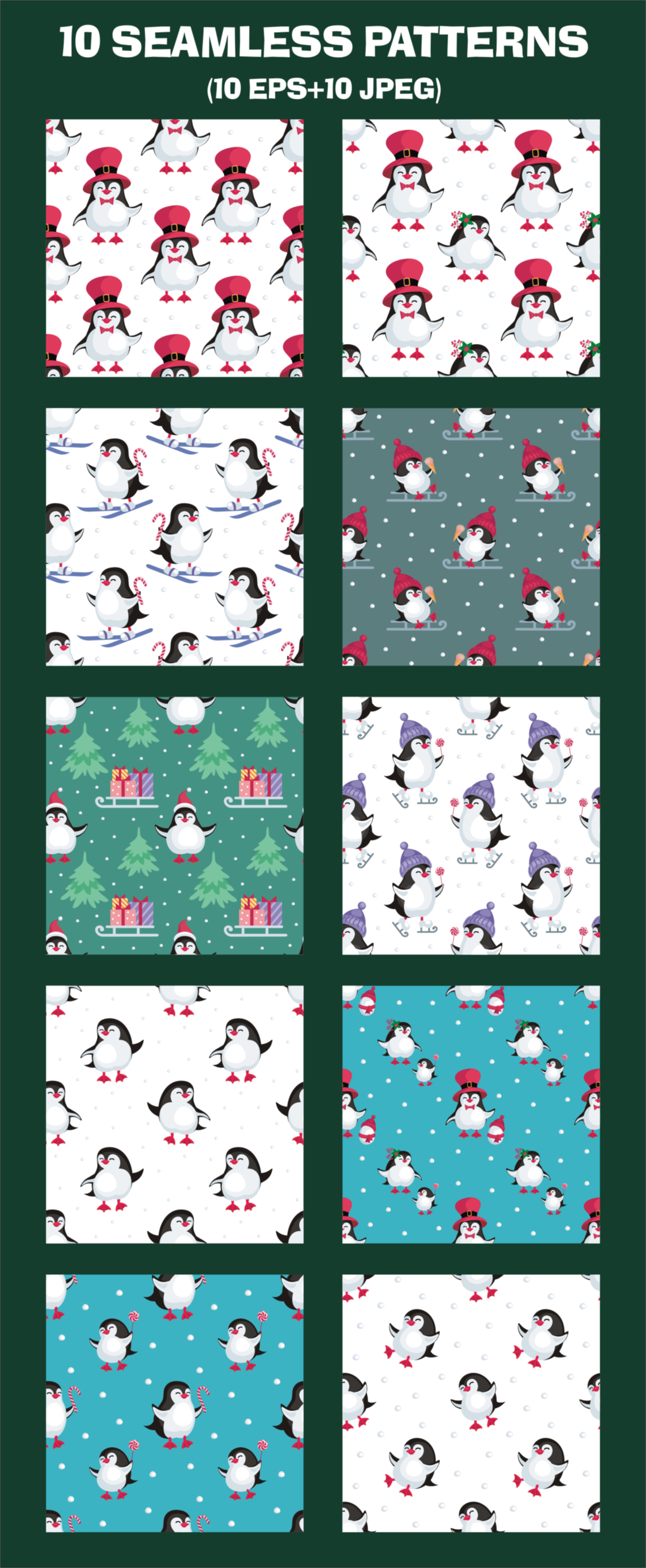 Funny penguins. Christmas seamless patterns example image 2