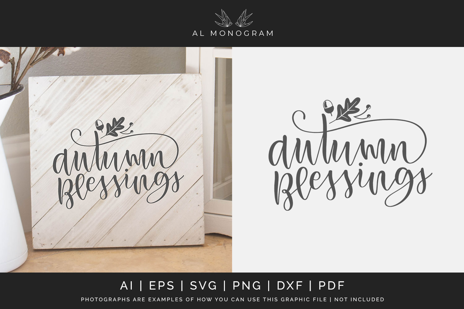 Autumn Blessings SVG Digital Laser Cut File example image 1