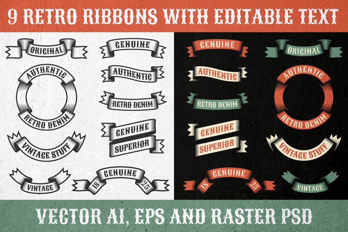 Authentic retro ribbons example image 1