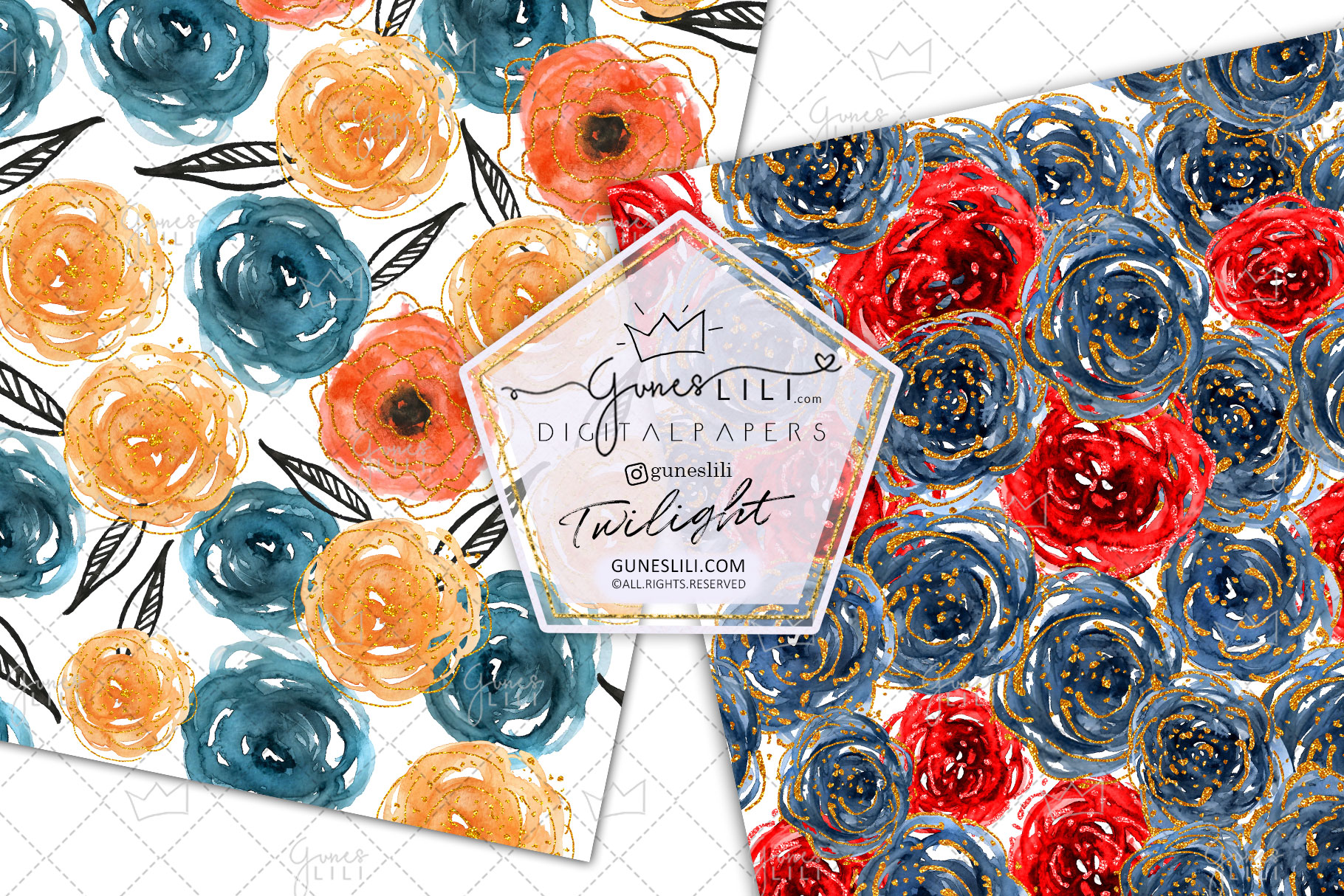 Watercolor Floral Digital Paper Flowers Seamless Pattern example image 3