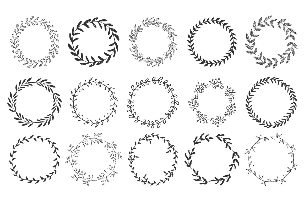 Hand drawn Wreaths and branches  example image 3