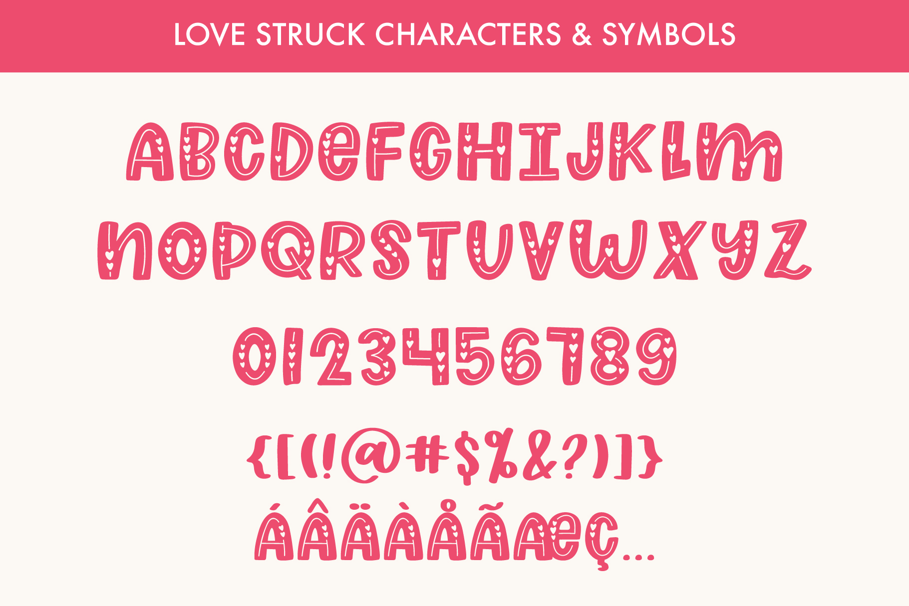 Love Struck, Thick Valentine's Heart Font example image 7
