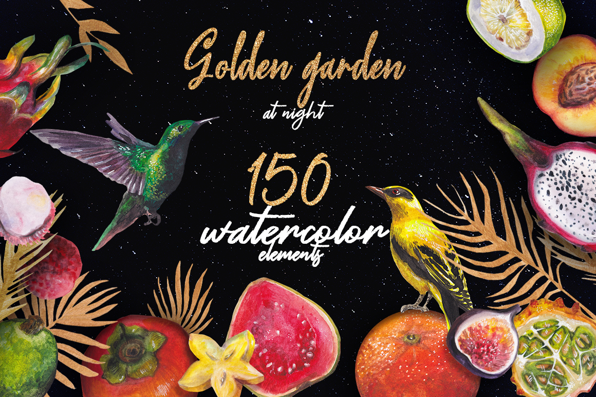 Golden garden at night - watercolor & ink set example image 1