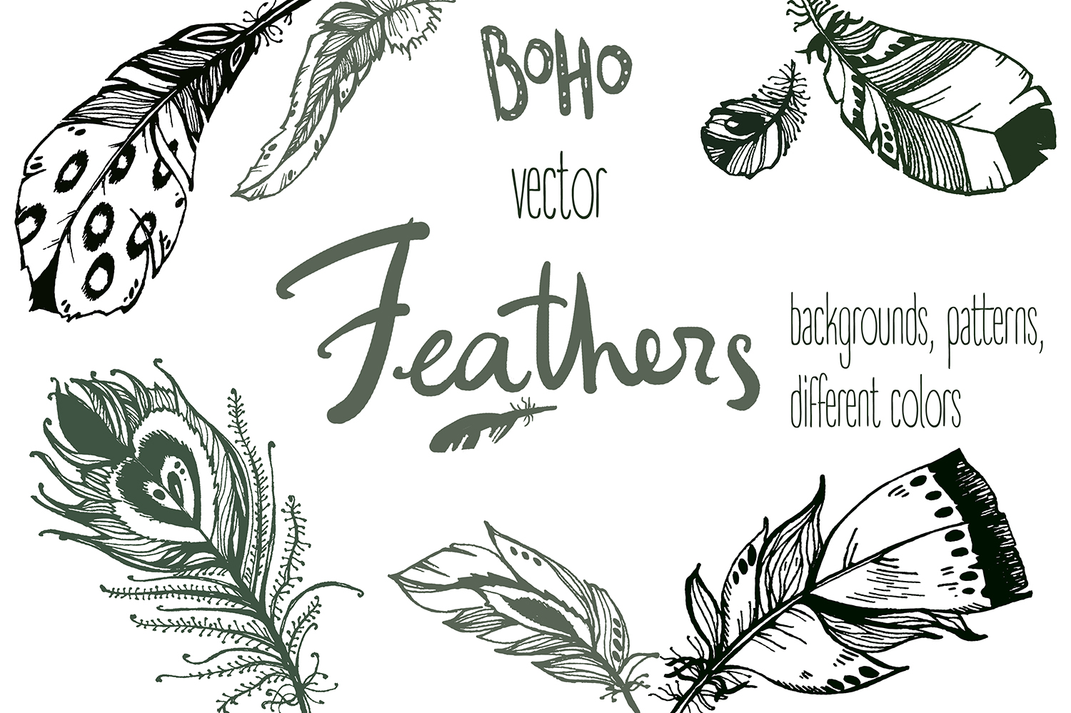 Vector boho feathers. Designs. example image 1