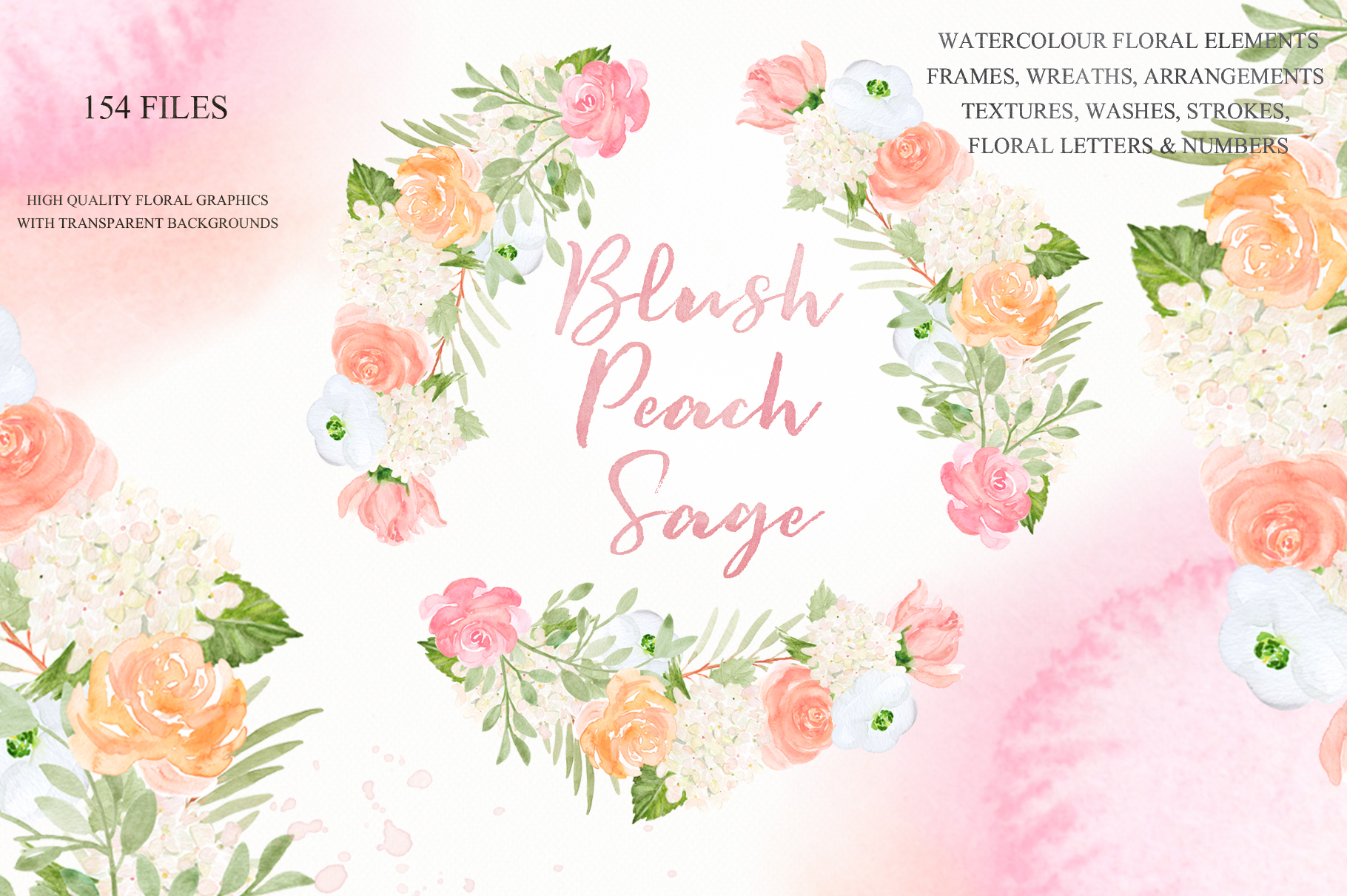 Blush Peach Sage Watercolor flowers clipart example image 2