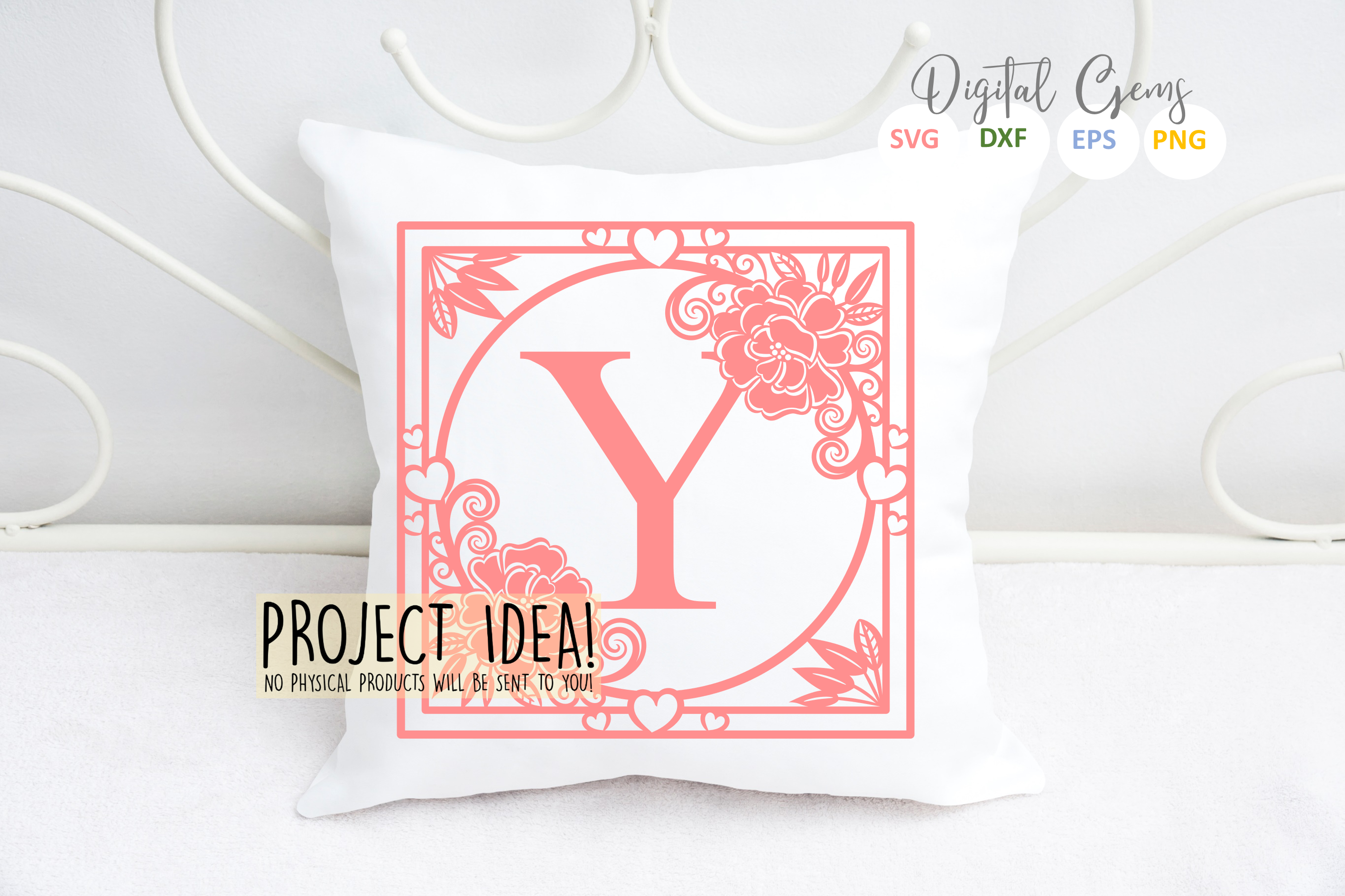 Letter Y papercut design. SVG / DXF / EPS files example image 2