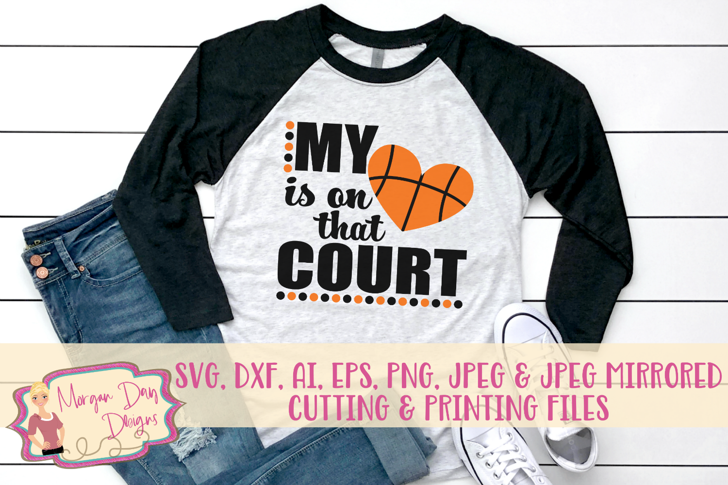 My Heart Is On That Court SVG, DXF, AI, EPS, PNG, JPEG example image 1