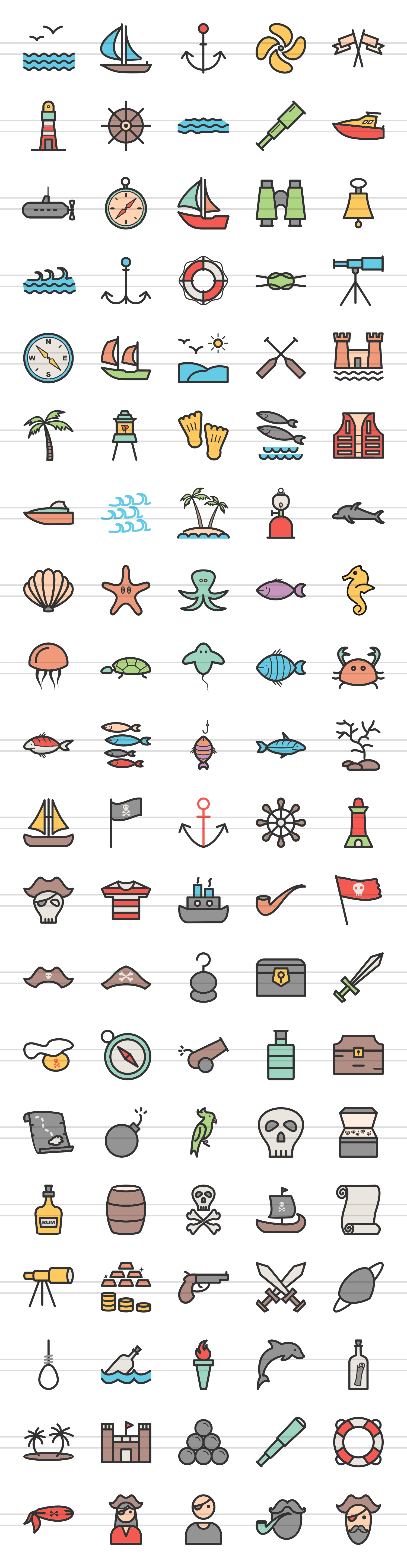 100 Pirate & Sea Filled Line Icons example image 2
