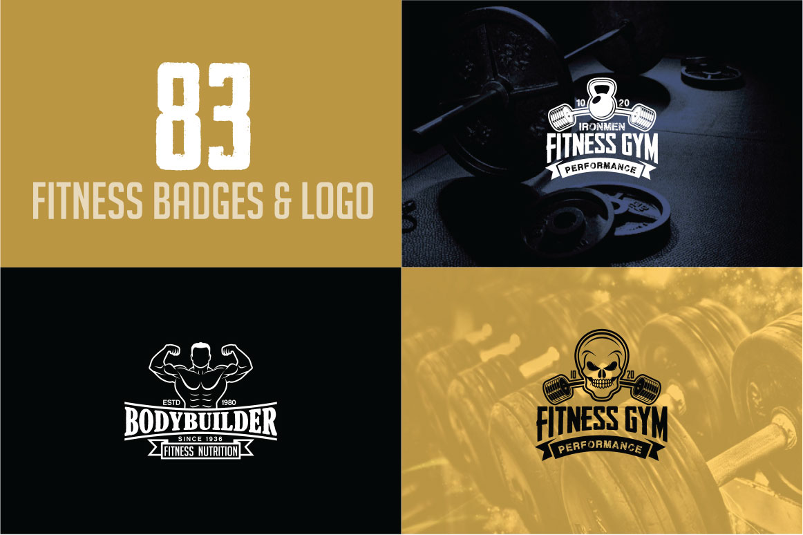 83 fitness gym bundle Logos Labels & Badges example image 22