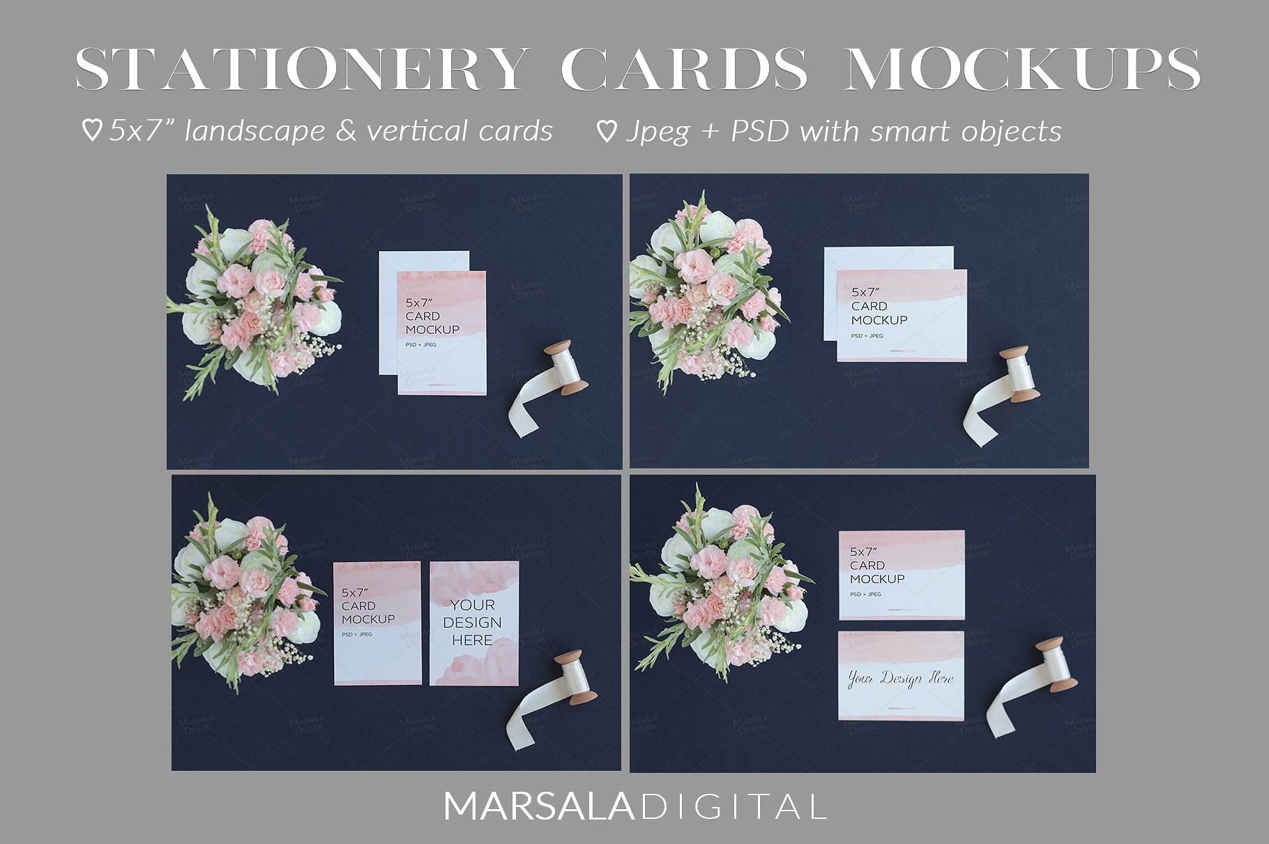 Blush and Navy Wedding Mockup Bundle example image 9