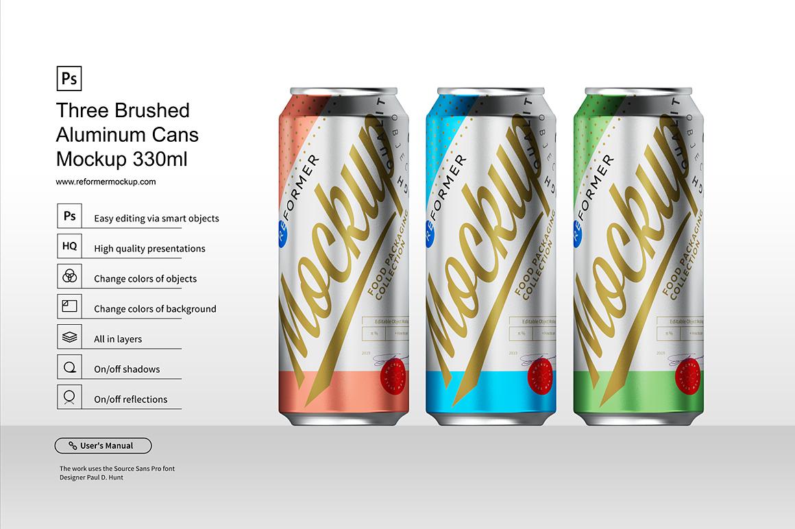 Three Brushed Aluminum Cans Mockup 330ml example image 1