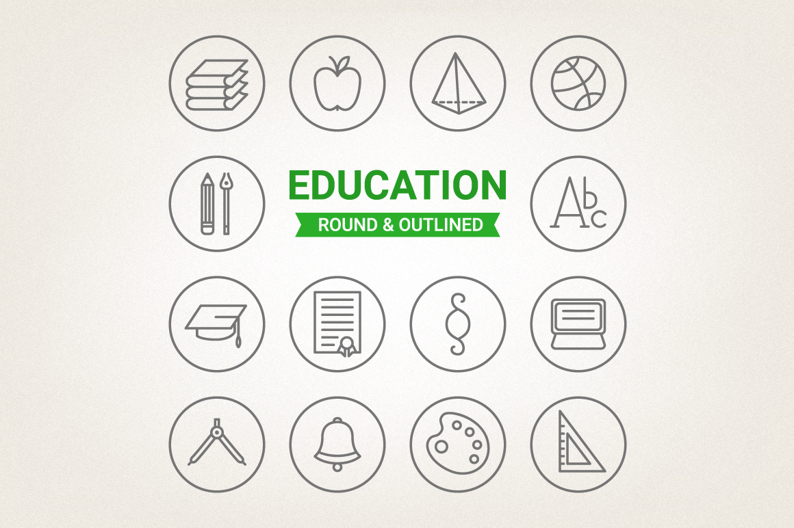 Circle Education Icons example image 1