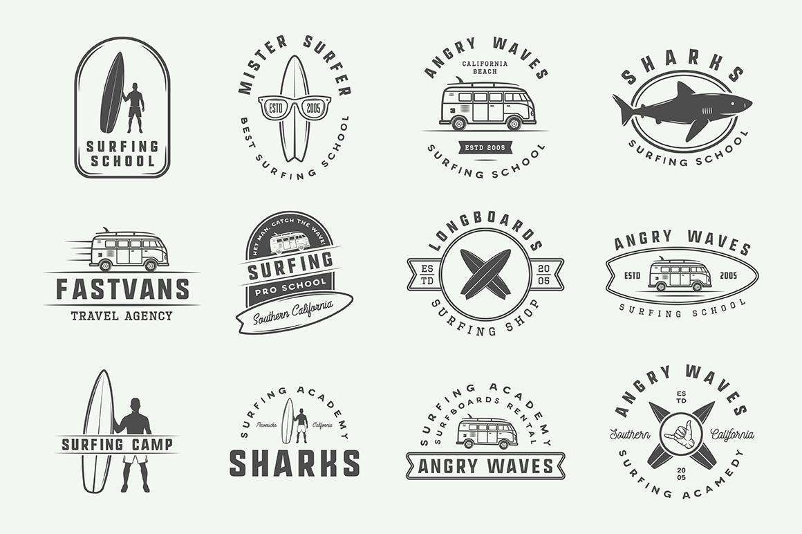 Vintage Surfing Emblems Bundle example image 10
