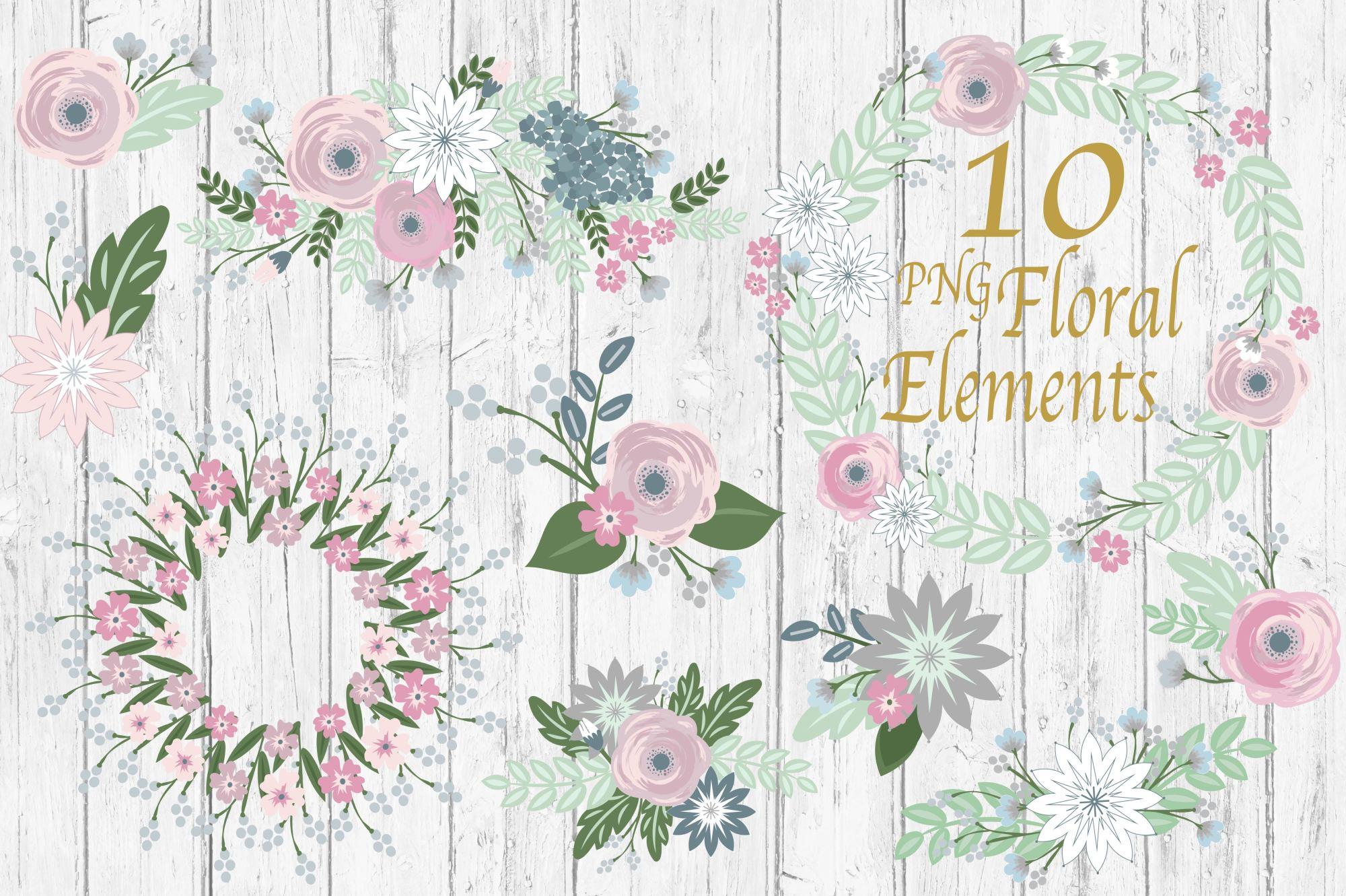 Floral Clipart Wedding Clipart Rustic Clipart