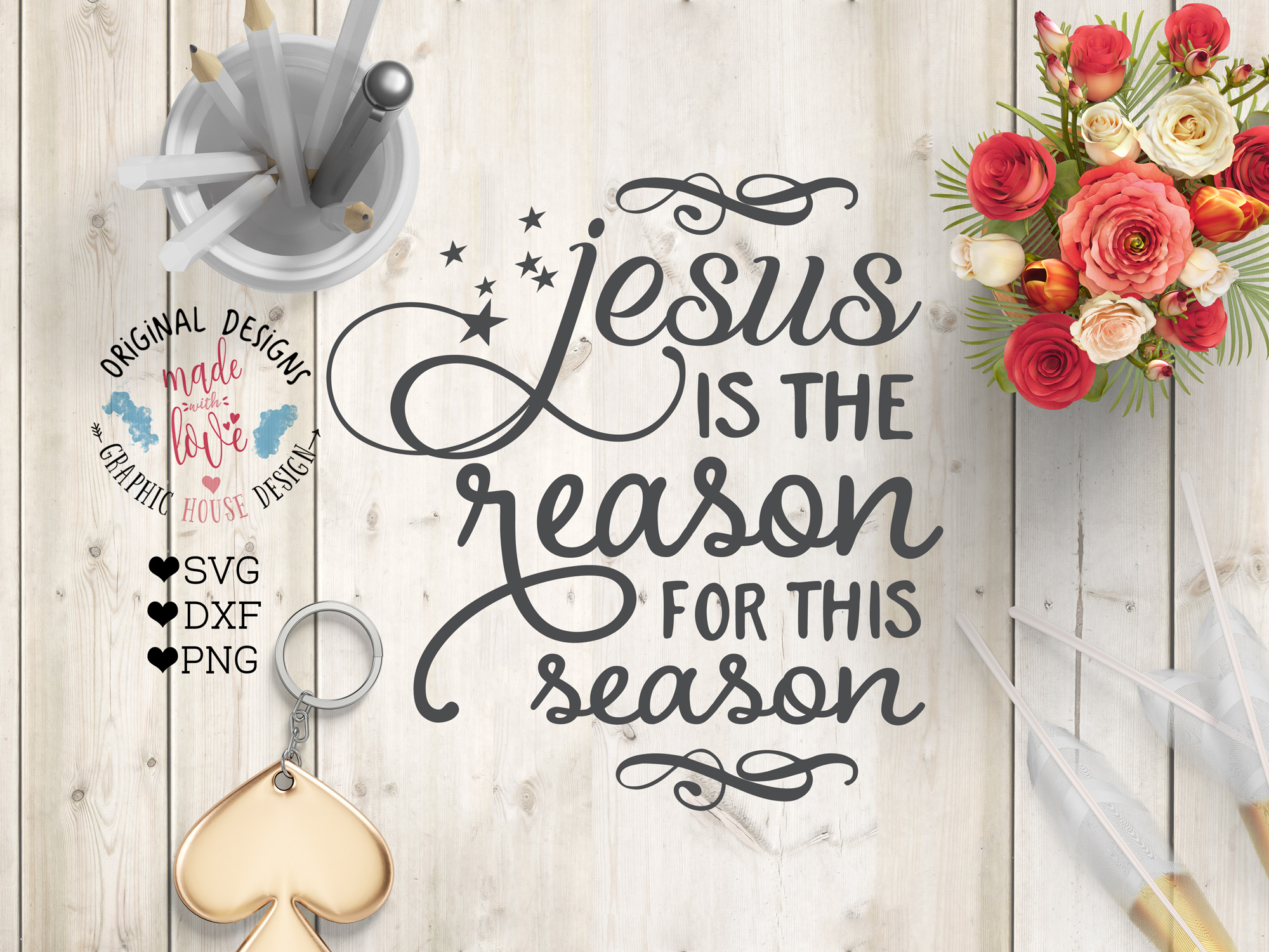 Jesus is the reason for this season Cutting File (SVG, DXF, PNG) example image 1
