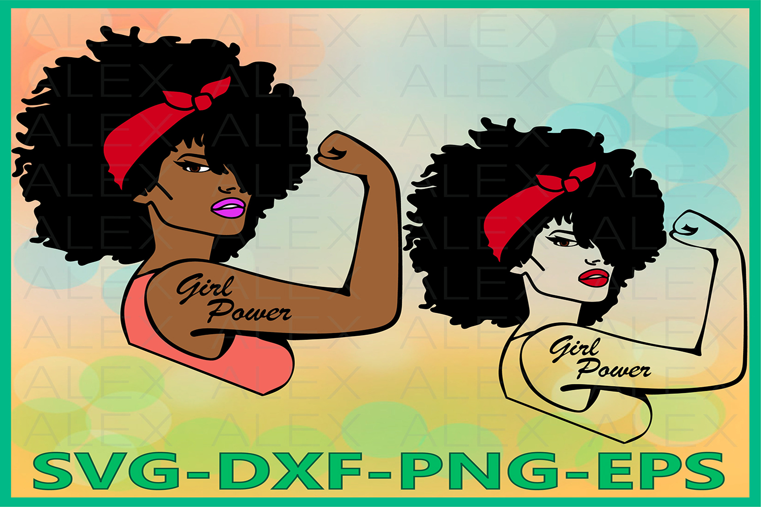Rosie SVG, Girl Power SVG, Afro Woman svg, Woman Clipart example image 1